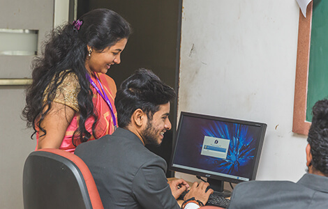 Computer Lab of SB College of management in North Bangalore